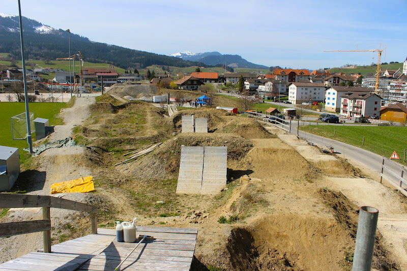 The Bike Park in Plaffeien Switzerland during spring-cleaning .