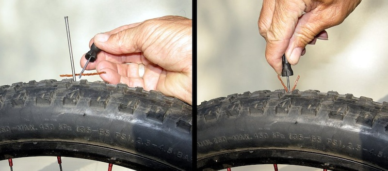 Shove the plug into the puncture until about a half-inch sticks out from the tire.