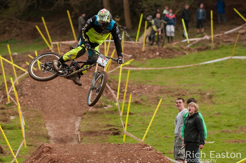 Getting sideways over the table at round one of the British Downhill Series.