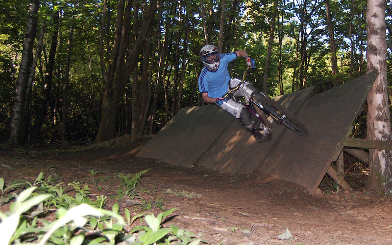 Laying it over on the wooden berm