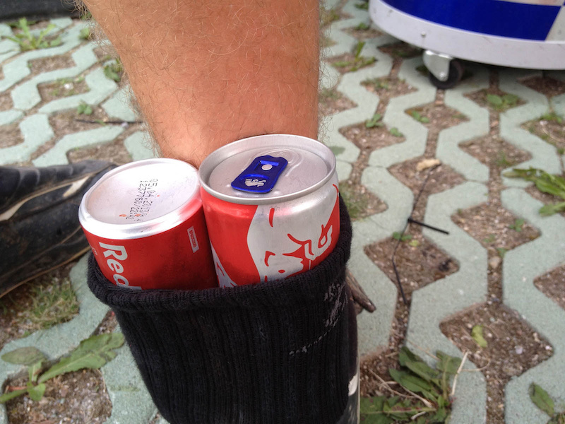 Nick Beer putting his Redbull sponsorship to good use after slamming a pedal into his Achilles Tendon.