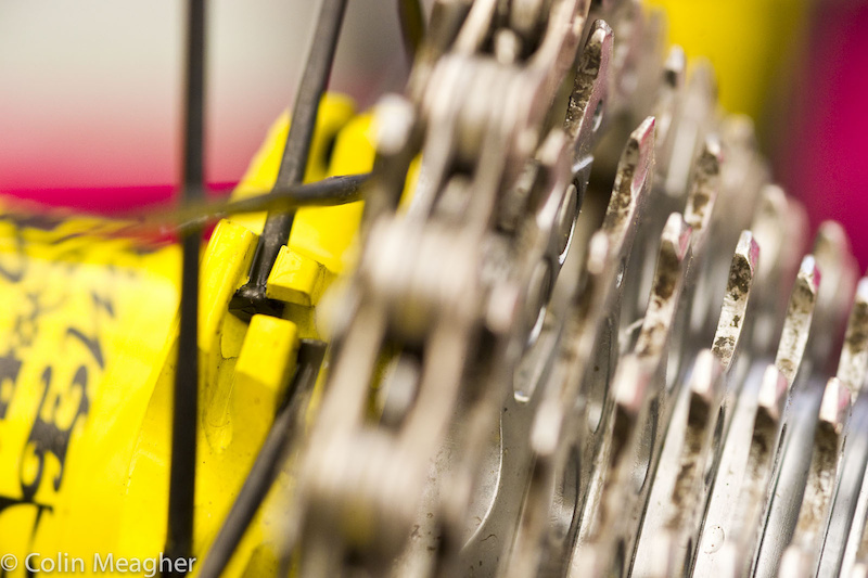 A close look at the straight pull, beefy spokes of the Mavic wheels.