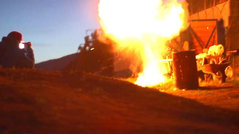 Big explosion at the set