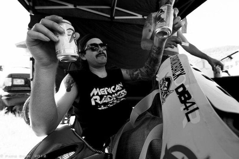 Rob Crump of team Merican Radness keeps the cool in the Diamondback tent.