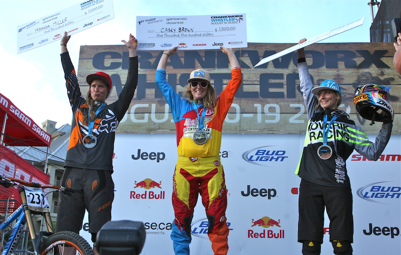 Casey Brown took the 2012 Crankworx Garaanzo DH win followed by Miranda Miller and Claire Buchar. All three women will be representing Canada at the 2012 World Championship in Austria.