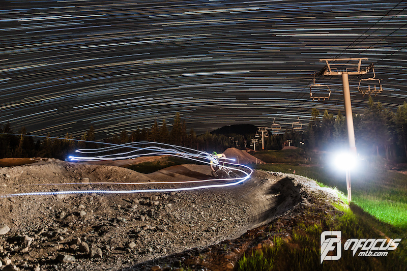 Longtime exposure shot of Andi riding the 4X track at 2am! It looks pretty bright in the picture but though he had 3 headlights it's been gnarly going down the hips and berms.