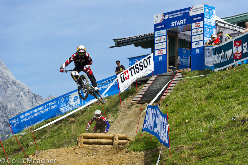 Sending it with a bit of style: Gwin and Jusso dropping in on the track.