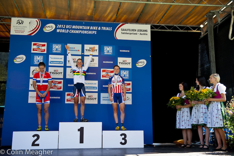 Elite Women's Podium (L-R): Gunn Rita Dahle Flesjaa, Bresset, and Gould.