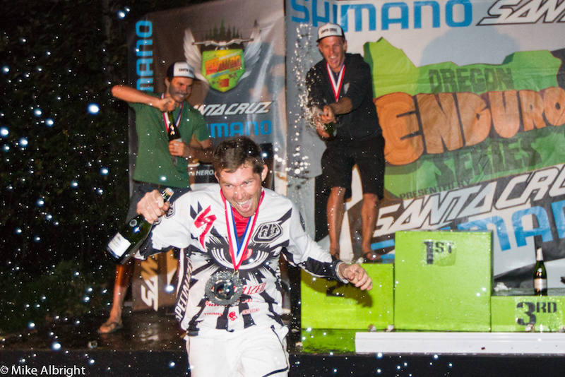 Curtis Keene (Specialized) came away as the Pro Men's 2012 North American Enduro Tour (NAET) champion but he couldn't escape the  wrath of the rest of the podiums champagne blasts.