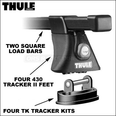 Thule Roof Rack 430 Tracker Ii Foot Pack And Load Bars New