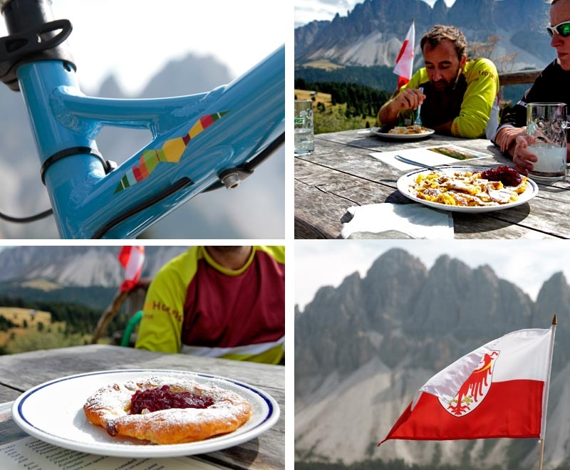 Lunch at the Schatzerhutte. With Kniakiachl Kaiserschmarm and Kasnocken
