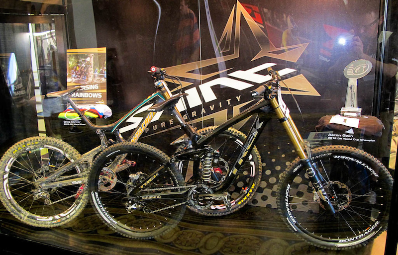 Greg Minnaar and Aaron Gwin s bikes at the SAINT display.