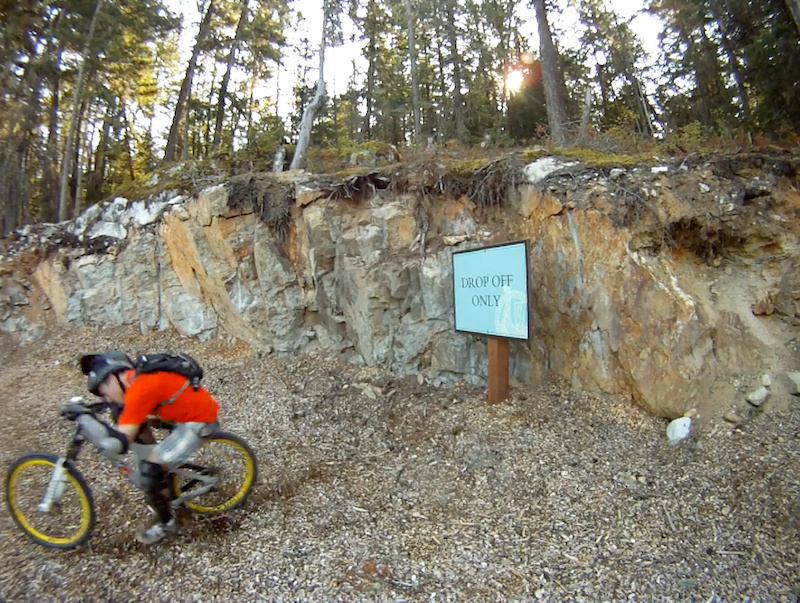 10ft drop over Spa sign. Face to bars, and yes the chin strap was tight. Popped 2 spokes out of my front DeeMax.