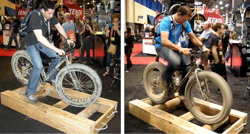 The Surly crew built a crude set of log rollers and offered up a big-tire bike to challenge all comers. It looks easier than it is. It took me a few tries to get going.