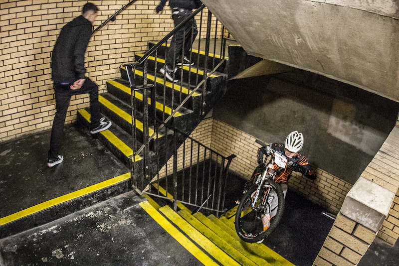 No uplift just a hike up 12 flights of stairs during Evans Cycles Urban Dual at NCP Multstory Car Park Cardiff Wales United Kingdom. 28October 2012 Photo Charles Robertson