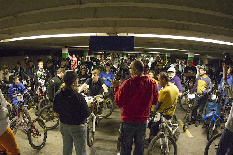 100 riders entered that had to be whittled down to 16 through qualifying during Evans Cycles Urban Dual at NCP Multstory Car Park Cardiff Wales United Kingdom. 28October 2012 Photo Charles Robertson