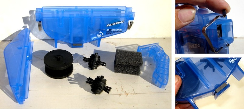 Park Tool Cyclone Chain Scrubber can be disassembled. The stainless steel clasp and the powerful magnet that traps metal chips.