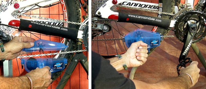 Park Tool Cyclone Chain Scrubber Close halves and pedal cranks to clean chain.