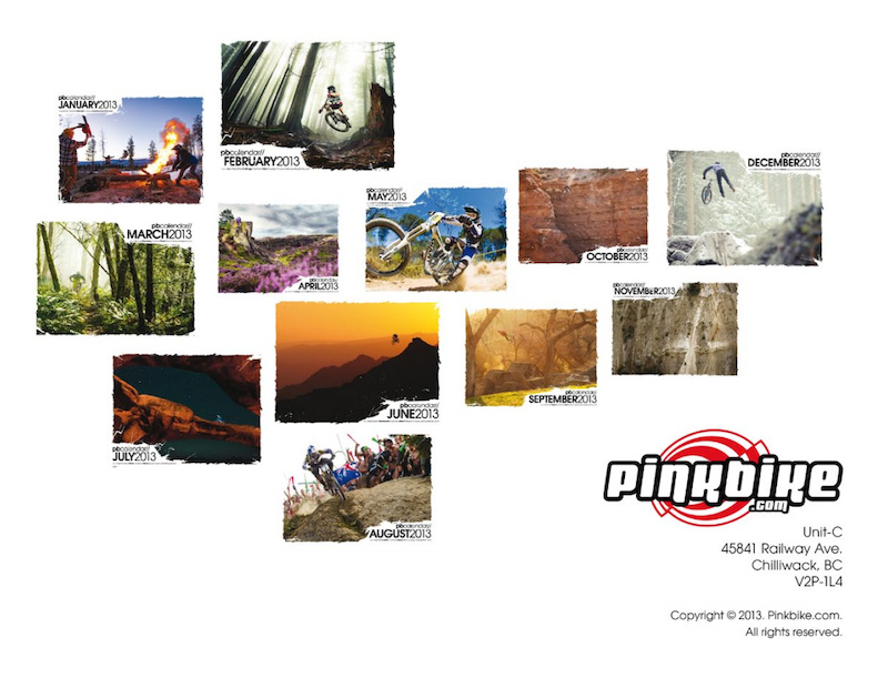 Back of the 2013 Pinkbike.com Calendar