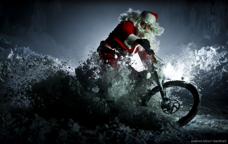 Santa slashing through the snow