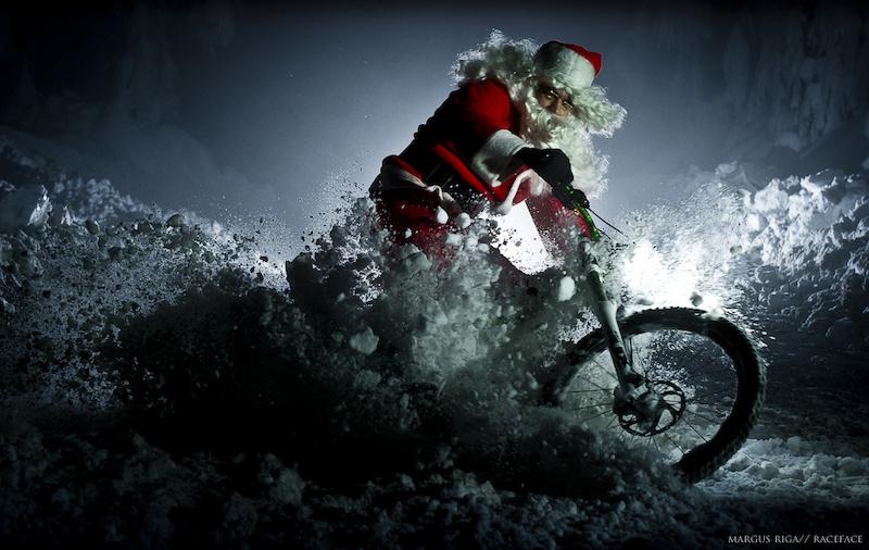 Santa slashing through the snow