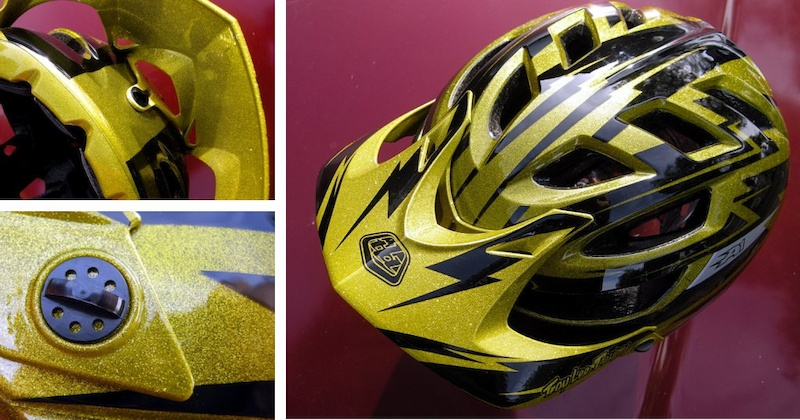 Troy Lee Designs A1 helmet - the gold metal-flake edition visor details