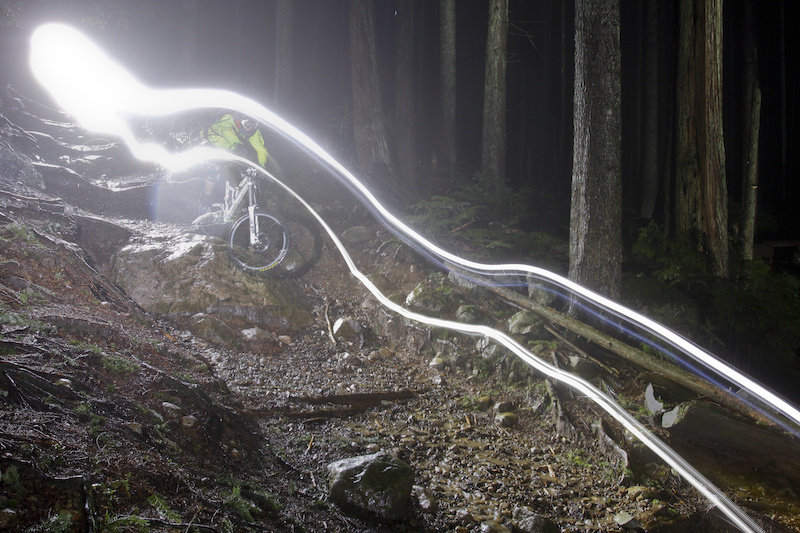 Tippie getting rowdy down Incline during a rainy night ride. Photo credit James Healey