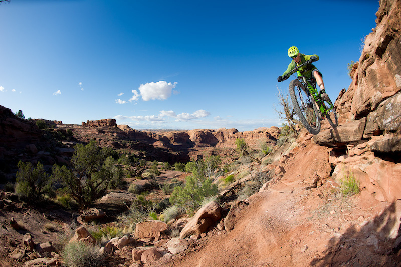 Kyle Mears rides the Captain Ahab trail in Moab, Utah