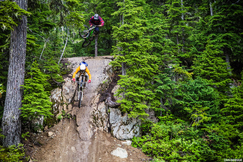 Curtis Robinson of The Coastal Crew airs into Drop In Clinic Whistler Bike Park.