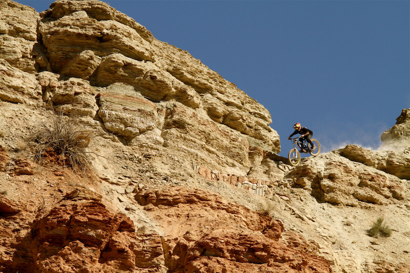 Andreu Lacondeguy drops in at the top of the Rampage course 2012