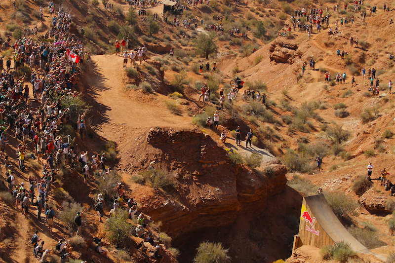 Cam McCaul hits the huge canyon gap at Rampage 2012