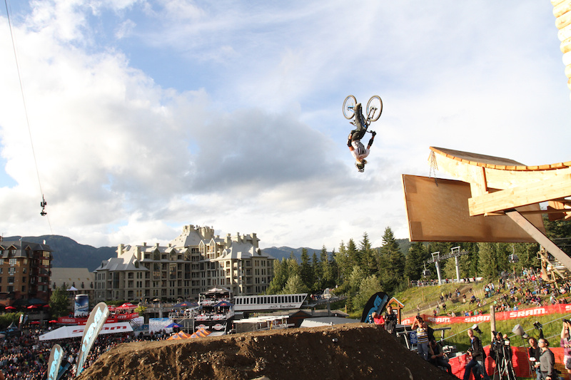Kelly McGarry backflips during Teva Best Trick