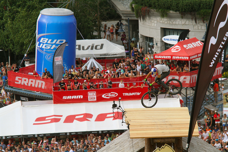 Martin Soderstrom spins the Kokanee house at Crankworx