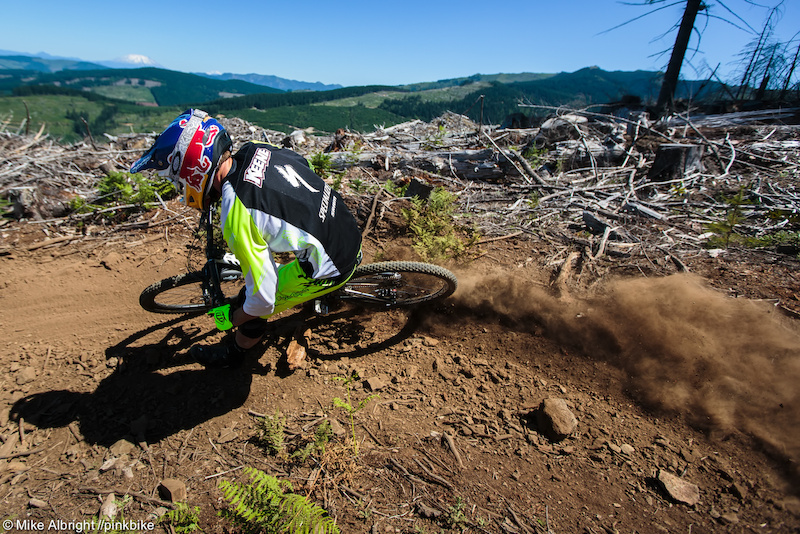 Curtis Keene roosting in front of Mount St. Helens on his way to the overall win.