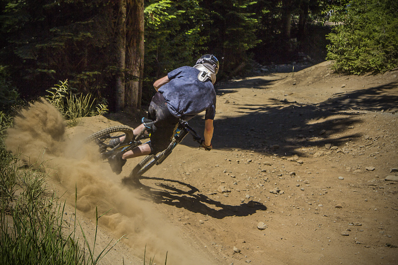 roostin on drop in clinic in whistler bike park.