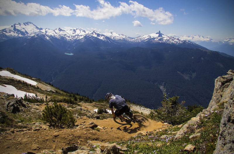 Riding top of the world trail in whistler bike park.