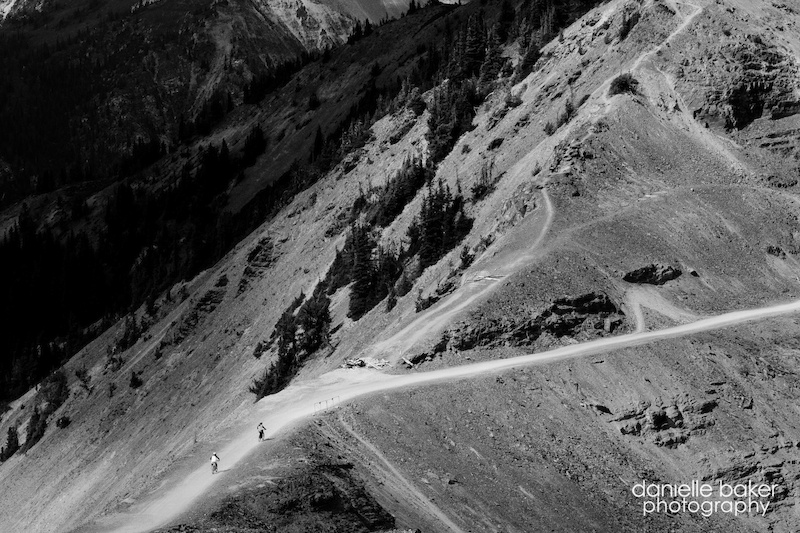 Descending at Kicking Horse to the race start - Western Open.