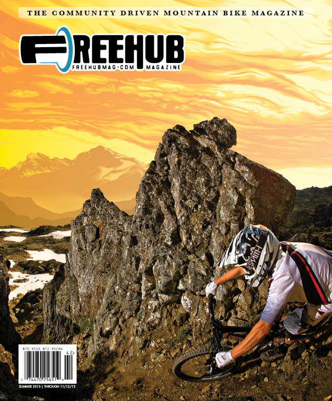 COVER SHOT: Kenny Smith gets chuted by Reuben Krabbe during the 2012 Deep Summer Challenge, and Jeff Boyes brings it all together Freehub-style with an incredible cover illustration--unfortunately his last for Freehub Magazine.