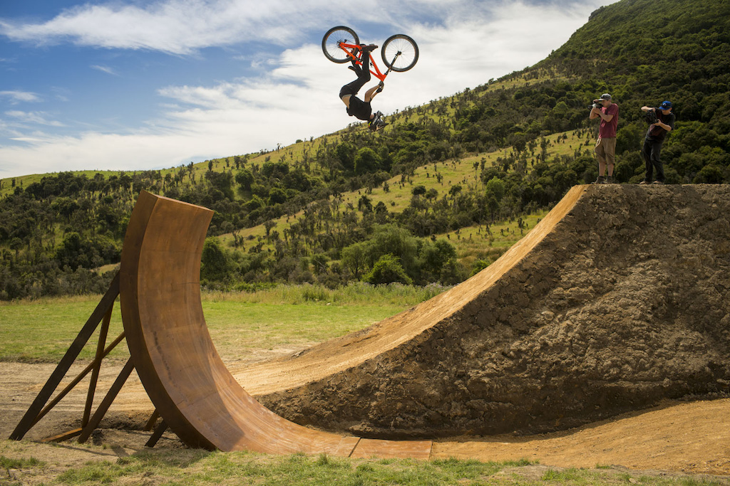 Brett Rheeder goes over vert on the Frew Farm in Winton New Zealand