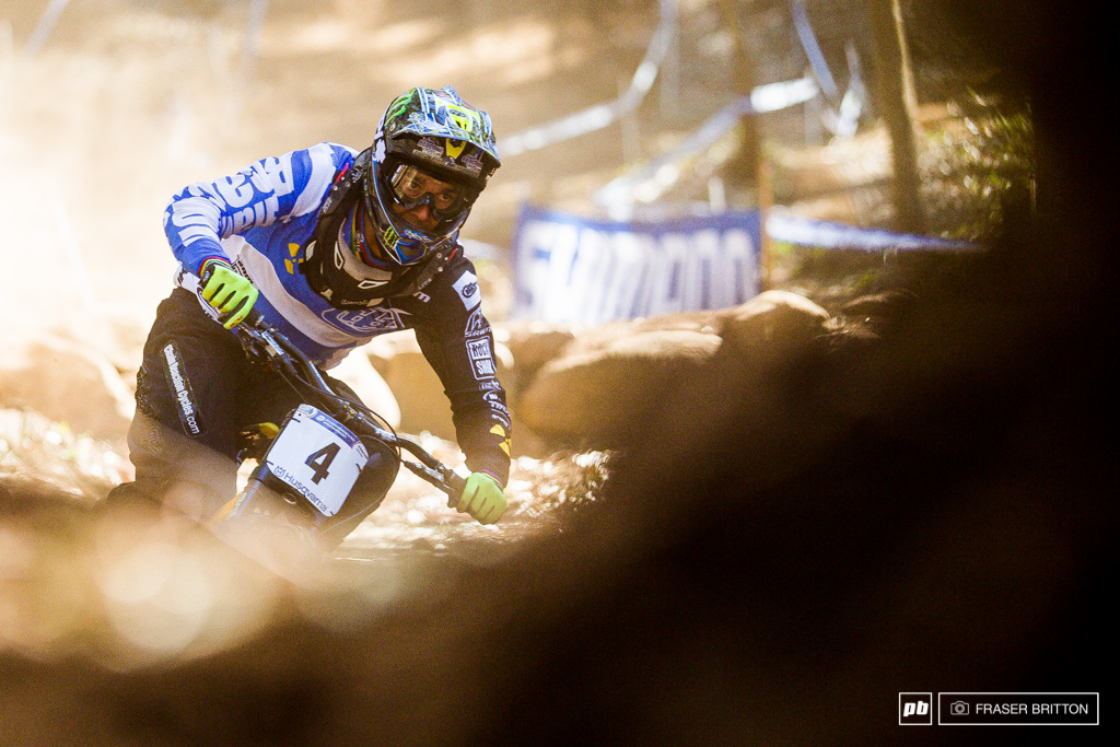 Sam Hill was looking on form all week but went down hard in his race run destroying a helmet but hurting only his pride.