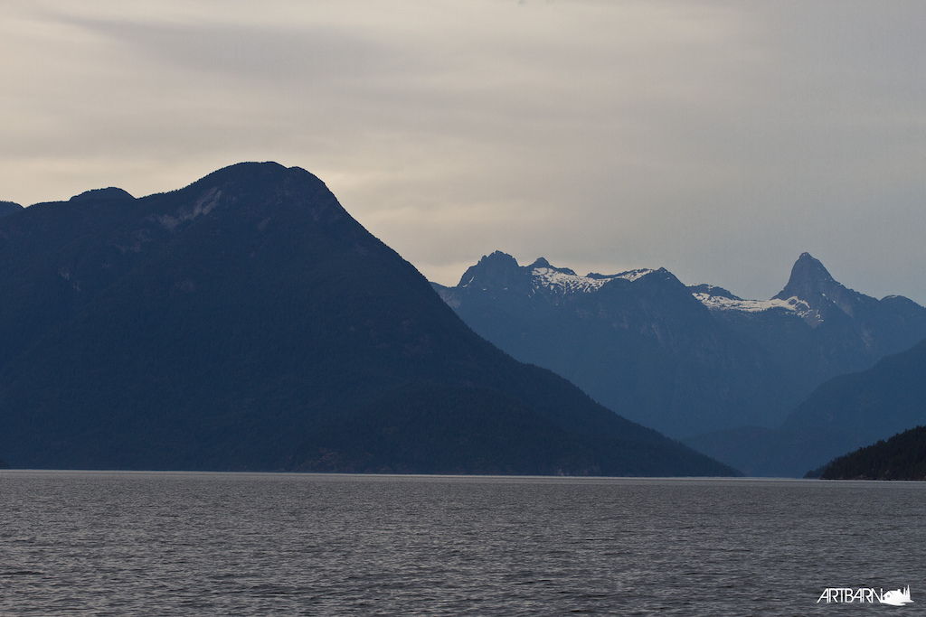 After passing through Desolation Sound the land shoots from the sea straight up to 5000 feet.
