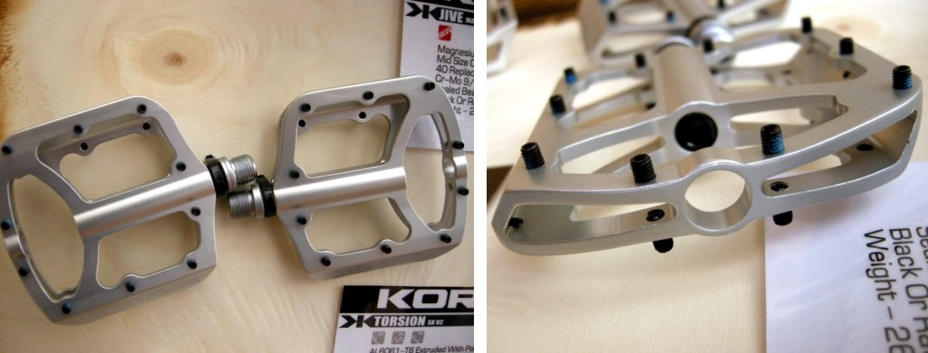 Kore's magnesium flat pedals weigh only 266 grams a pair, with 40, removable six-millimeter pins, a chromoly axle and sealed ball bearings. The mid-width flat is concave, and you can get a pair in natural magnesium, or black. If you ride XC with flats, Kore's Mg option should be the trick.