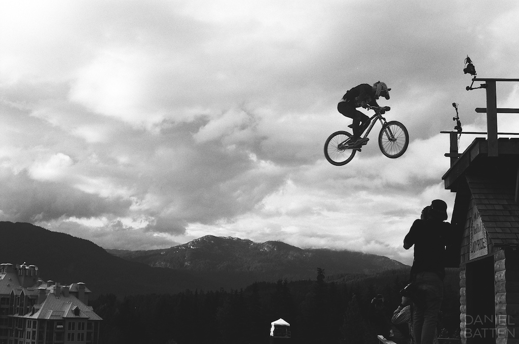 360 off the cabin. 10secs away from a broken tib fib 35mm black amp white film