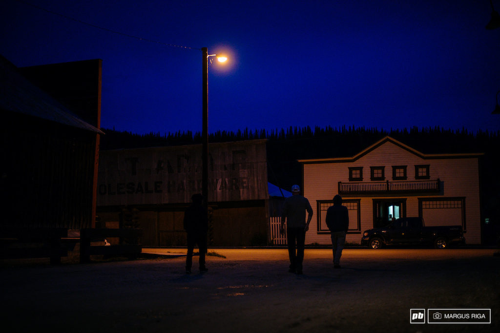 The boys After a long drive we landed in Dawson City fairly excited. If you ever go there you will feel what we felt which is the sensation of stepping back into a memory. Dirt streets wooden sidewalks buildings changed only by time. Here we are heading out to find the Sourtoe.
