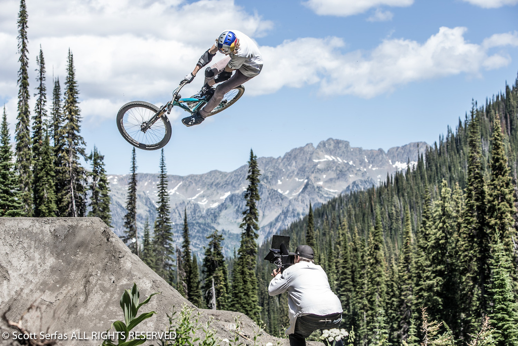 Thomas Genon performs on his mountain bike at Retallack Lodge near Nelson BC Canada on July 30th 2013.