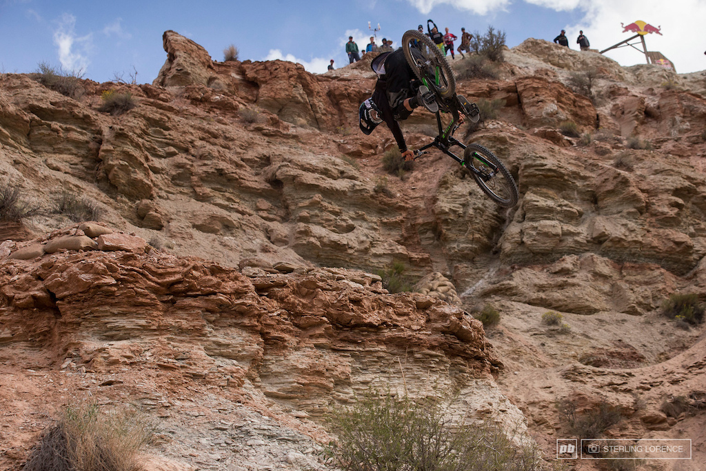 Dumped 3 cliff drop at the top one of the gnarliest moves at the 2013 RedBull Rampage in Virgin Utah