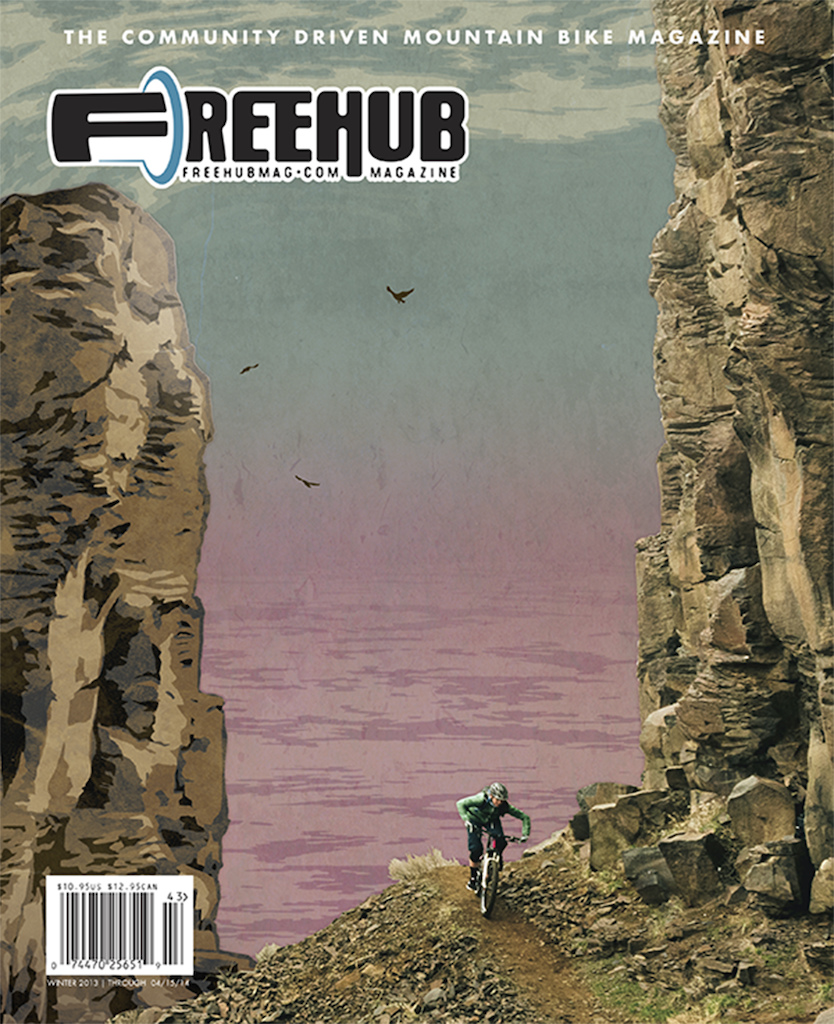 While Katie Holden billy goats along a cliffside climbing trail in Vantage, WA, artist Shawn Okeefe uses his signature artistic style to add some off season chill to the winter Freehub Magazine cover.