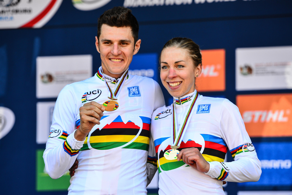 Having tackled the tough Cascades MTB Park marathon track and held off all of the competitors men's winner Jaroslav Kulhavy (left) and Annika Langvad (right) show off their rainbow striped jersey's and gold medals at the 2014 UCI MTB Marathon World Championships in Pietermaritzburg on Sunday.