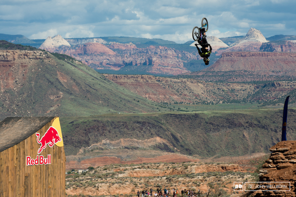 There were a few back flips in a row over the canyon gap today. Louis Reboul with a lofty one