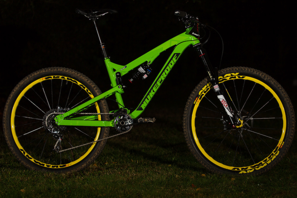 Sam Hill s brand new 2015 Nukeproof Mega AM 27.5 in Monster Green of course. It sports Mavic Crossmax wheels and tires an XX1 drivetrain and Rockshox suspension front and rear.